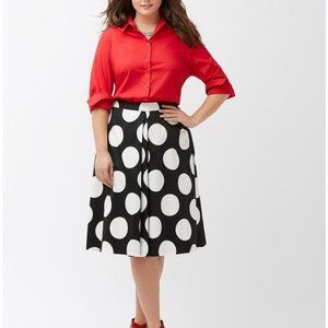 Lane Bryant Black Polka Dot Midi Circle Skirt